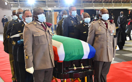 Members of the military carry in the coffiin of late ANC veteran Andrew Mlangeni at the UJ Soweto Campus on 29 July 2020. Mlangeni has been accorded a Special Official Funeral Category 1 with military honours. Picture: @GCISMedia/Twitter