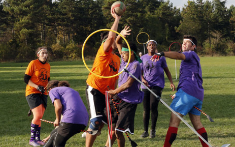 Players during the Quidditch tournament in Vincennes, suburb of Paris in 2014. Picture: AFP.