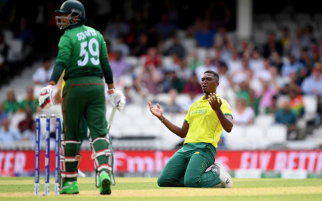 South African fast bowler Lungi Ngidi reacts to a missed chance against Bangladesh during their Cricket World Cup match on 2 June 2019. Picture: @cricketworldcup/Twitter