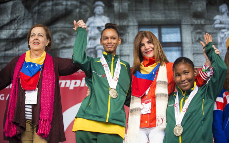 Thato Serepedi (R) bronze and Bianca Basson (L) gold figure skating at the at Special Olympics World Winter Games in Austria. Picture: Thomas Holder/EWN.