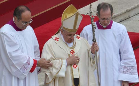 FILE:Pope Francis leads the canonisation (C) mass of Popes John XXIII and John Paul II on St Peter's at the Vatican on April 27, 2014. Picture: AFP.
