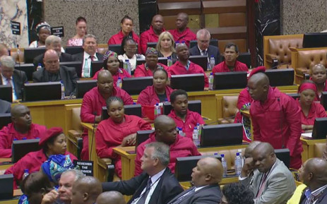 EFF MPs disrupt President Jacob Zuma's State of the Nation Address on 9 February 2017. Picture: YouTube screengrab.