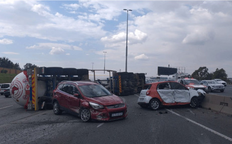 A truck collided with two other vehicles on 23 April 2021 on the N1 highway near the Buccleuch interchange. Picture: Supplied.