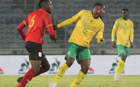 South Africa's Lebohang Maboe (right) in action during a friendly match against Uganda on 10 June 2021. Picture: @BafanaBafana/Twitter
