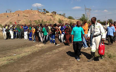 Marikana miners down tools following the deaths of three people on 14 May 2013. Picture: Lesego Ngobeni/EWN
