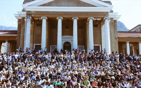 UCT students protest against the presence of the Cecil Rhodes Statue on 13 March 2015. Picture: Joshua Nott via Twitter