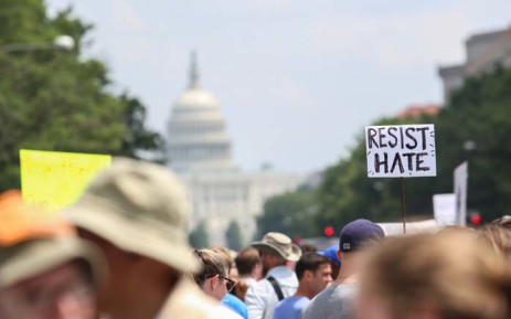 Counter-protesters gather at Freedom Plaza before the Unite the Right rally in Lafayette Park on 12 August 2018 in Washington, DC. Picture: Getty Images/AFP.