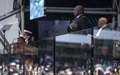 President Cyril Ramaphosa sings the national anthem at his inauguration ceremony at Loftus Versfeld Stadium on 25 May 2019. Picture: Abigail Javier/EWN.