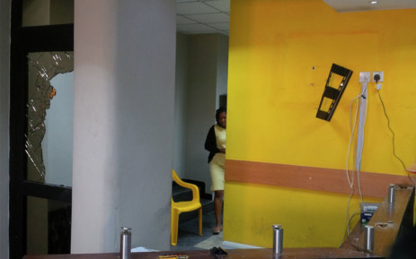 The MTN office in Abuja, Nigeria after being vandalised by protesters. Picture: @ubaniraymond/Twitter