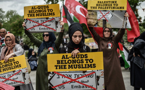 "Women protestors hold placards reading ""Al Quds belongs to muslims"" on 11 May 2018 in Istanbul, during a demonstration against US President Donald Trump's controversial decision to recognise Jerusalem as Israel's capital by the opening of a US embassy in the city. Picture: AFP."