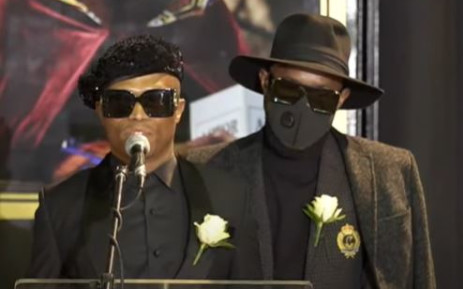 Somizi Mhlongo is comforted by his partner Mohale Motaung as he pays tribute to his late mother, actress Mary Twala on Thursday 9 July 2020. Picture: YouTube screengrab