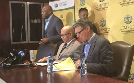 Limpopo Premier Stan Mathabatha (seated left) briefing the media about 10 municipalities that invested money with VBS Mutual Bank. Picture: Clement Manyathela/EWN
