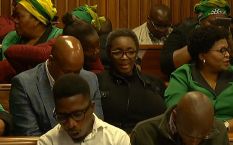 A screenshot of Minister for Women in the Presidency Bathabile Dlamini at the rape trial against accused Nigerian pastor Timothy Omotoso at the Port Elizabeth High Court on Monday, 22 October 2018. Picture: SABCNews/Youtube