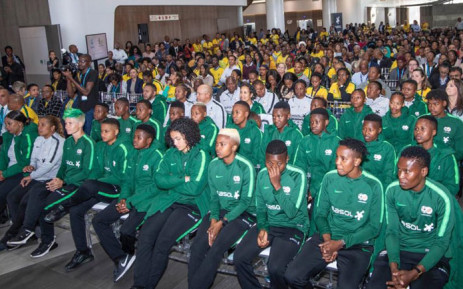 The Banyana Banyana squad at their send-off for the Women's World Cup on 23 May 2019. Picture: @M_Letsholonyane/Twitter