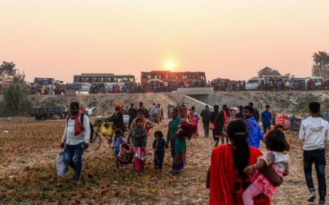 Hindu devotees arrive ahead of Gadhimai Festival in Baryarpur, 160 km south of the Kathmandu, on 2 December 2019. Picture: AFP
