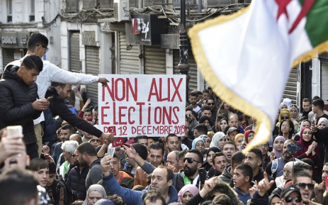 Algerian protesters shout slogans during an anti-government demonstration in the capital Algiers on December 10, 2019, ahead of the presidential vote scheduled for 12 December. Picture: AFP