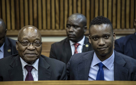 FILE: Duduzane Zuma and his father, former President Jacob Zuma, at the Randburg Magistrates Court on 24 January 2019 for a postponement of his culpable homicide case. Picture: Thomas Holder/EWN