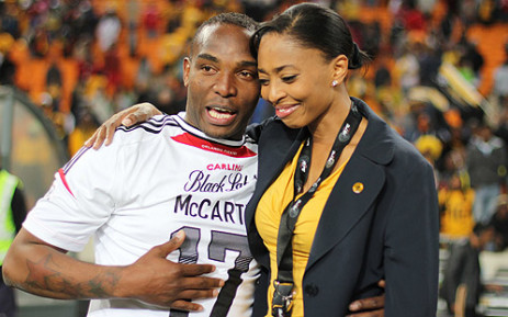 Benni McCarthy shares a joke with Kaizer Chief's Jessica Motaung after his team retained their Carling Black Label Cup. Picture: Taurai Maduna/EWN