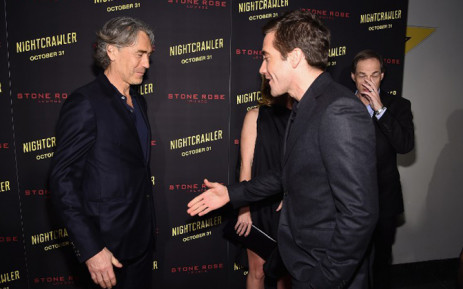 Tony Gilroy (L) and Jake Gyllenhaal attend the 'Nightcrawler' New York Premiere at AMC Lincoln Square Theater on October 27, 2014 in New York City. Picture: AFP.