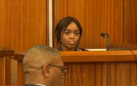 A video screengrab of Cheryl Zondi (22) as she continues to testify at the Timothy Omotoso trial at the High Court in Port Elizabeth. Zondo revealed how the pastor sexually assaulted her while she was a minor. Picture: SABC News/Youtube