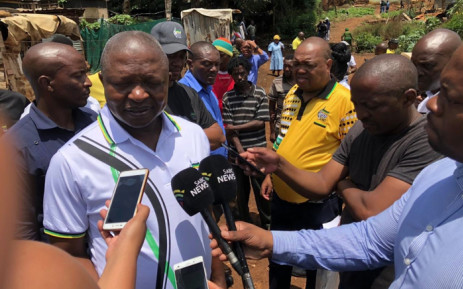 Deputy President David Mabuza addresses media in the Mpophomeni area, near Howick, after a door-to-door campaign on 9 January 2019. Picture: @MYANC/Twitter