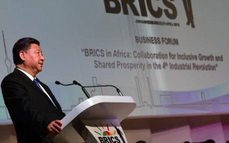 Chinese President Xi Jinping addressing the presidential session of the BRICS Business Forum in Sandton, Johannesburg. Picture: @SAgovnews/Twitter.