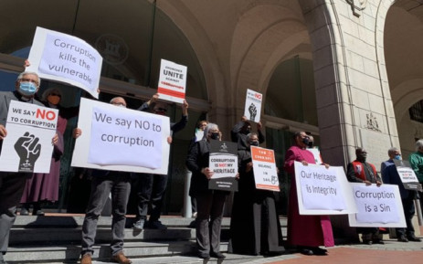Leaders from various denominations held a silent protest outside the St Georges Cathedral in front and the Western Cape Legislature.  Picture: Kaylynn Palm/EWN