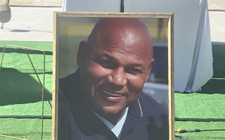 A portrait of World Cup-winning Springbok winger Chester Williams at his funeral service at the Newlands rugby stadium in Cape Town on 14 September 2019. Picture: Shamiela Fisher/EWN