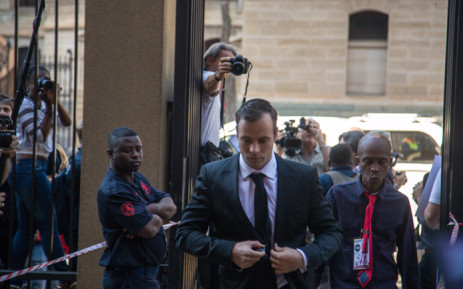 FILE: Oscar Pistorius arrives at the high court in Pretoria to set down a date for new sentencing procedures following the murder of his girlfriend Reeva Steenkamp. Picture: Reinart Toerien/EWN.