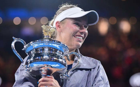 Caroline Wozniacki with the trophy after winning the Australian Open final against Simona Halep. Picture: @AustralianOpen/Twitter.