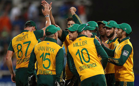 Proteas Twenty20 squad celebrate during a match against the West Indies in January 2015. Picture: Official CSA Facebook.