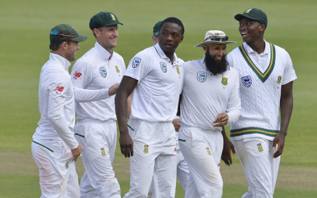 Proteas' players celebrate after Kagiso Rabada (centre) took the wicket of Australia's Mitchell Starch. Picture: @OfficialCSA/Twitter.