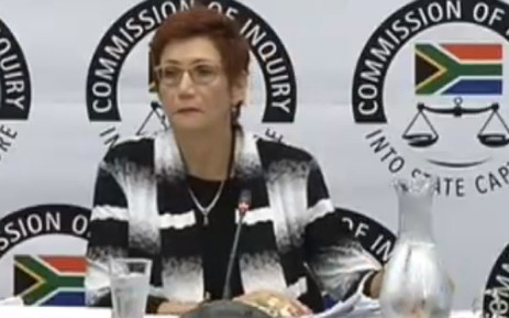 A screengrab of former Denel chairperson Martie Janse van Rensburg giving testimony at the state capture inquiry.
