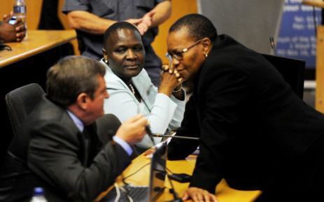 National police commissioner Riah Phiyega (C) looks on during a break in proceedings at the Farlam Commission of Inquiry on Wednesday, 10 September 2014. Picture: Sapa.