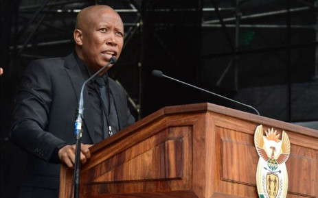 Julius Malema at the funeral of Winnie Madikizela-Mandela at Orlando Stadium. Picture: GCIS