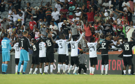 Orlando Pirates players celebrate after their victory over Polokwane City. Picture: @orlandopirates/Twitter