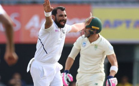 India's Mohammed Shami appeals for a dismissal during day three of the Third Test against South Africa on 21 October 2019. Picture: @BCCI/Twitter