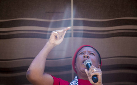 Economic Freedom Fighters (EFF) leader Julius Malema addresses protesters gathered outside the Israel Embassy in Pretoria on 2 November 2017. Picture: Thomas Holder/EWN
