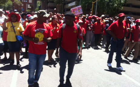 FILE: Communication Workers Union members sing and dance in the streets of Johannesburg in October. Picture: Kgothatso Mogale/EWN.