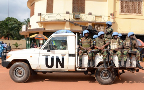 FILE: A file photo taken in December 2014 shows UN peacekeeping soldiers patrolling in Bangui, Central African Republic. Picture: AFP.