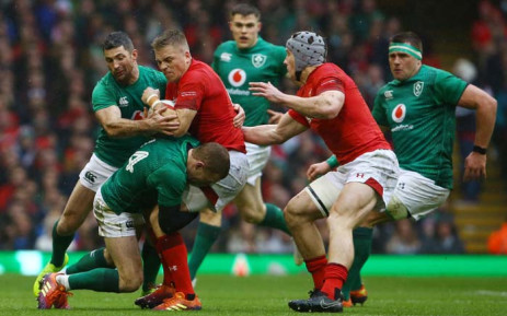 Wales' fly-half Gareth Anscombe (3rd L) is tackled by Ireland's full-back Rob Kearney (L) and Ireland's lock Tadgh Beirne (2nd L) during the Six Nations international rugby union match between Wales and Ireland at the Principality Stadium in Cardiff, south Wales, on 16 March 2019. Picture: AFP