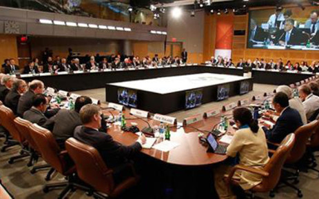 World leaders sitting around the table at the G20 leaders summit in Australia. Picture: Official Australia G20 2014 Facebook page.