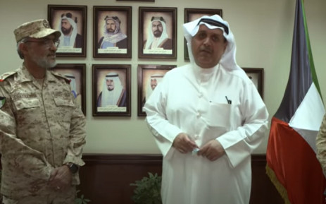 Kuwaiti Minister of Defense Sheikh Hamad Jaber Al-Ali Al-Sabah (R) on 12 October 2021 announced the decision to allow women to enlist in the military in combat roles. Picture: KuwaitArmy GHQ/YouTube Screengrab.