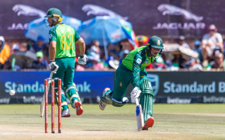 South Africa batsman Quinton de Kock safely makes his ground during the 3rd ODI cricket match between South Africa and Australia at Senwes Park on 7 March 2020. Picture: AFP.
