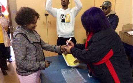 Baleka Mbete casts her vote. Picture: @MYANC via Twitter.