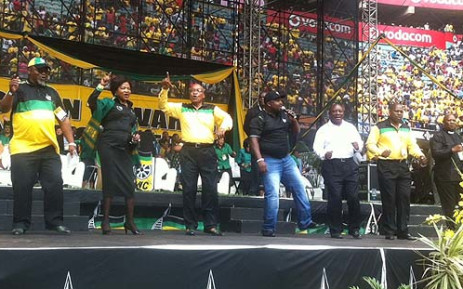 Jacob Zuma with ANC delegates at the January 8th statement at Kings Park Stadium in Durban. Picture: Sebabatso Neo Mosamo/EWN.
