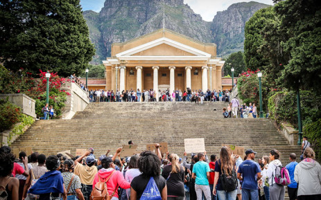 FILE: Fees2017 protesters seen outside UCT upper campus. Picture: Anthony Molyneaux/EWN.