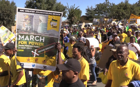 ANC members march through the streets of Soweto in protest over power interruptions in the township. Picture: Vumani Mkhize/EWN.