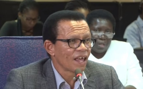 A screenshot of Lawrence Mrwebi testifying at the Mokgoro Inquiry. Picture: SABCNews/Youtube