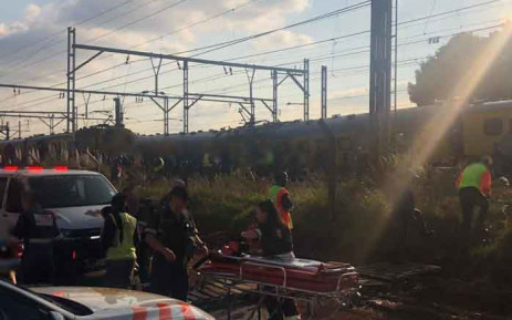 At least 19 people were injured on 12 March 2019 after a train derailed in Boksburg. Picture: @Netcare911_sa/Twitter